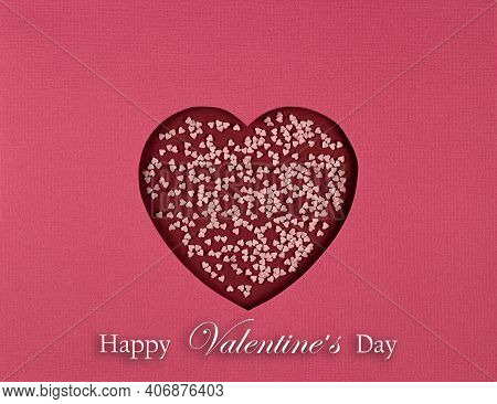 Paper Cut Heart And Inscription Happy Valentines Day. Abstract Background With Symbol Of Love. Cutte