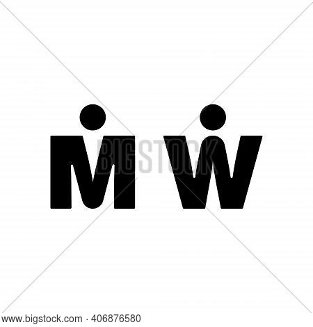 Man And Woman Icon. M And W Letters Sign For Restroom. Girl And Boy Wc Pictogram For Bathroom. Vecto