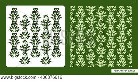 Stencil For Drawing Patterns From Leaves, Twigs, Lianas. Plants Theme. Seamless Texture For Decorati