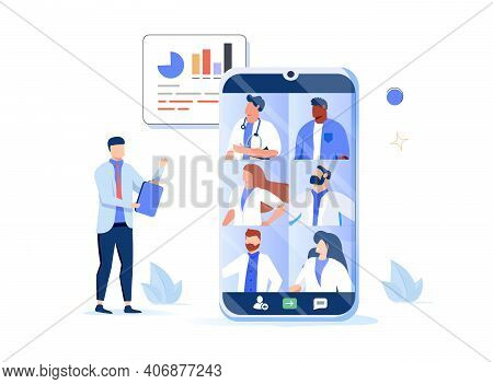 Medical Council And Online Doctor Teleconference Concept. Vector Flat Person Illustration. Man Talki