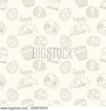 Vvector Seamless Simple Pattern With Decorative Eggs. Easter Holiday Light Background For Printing O