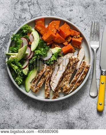 Balanced Diet Food - Grilled Turkey, Sweet Potatoes, Kale Cabbage, Avocado, Cucumbers, Radish Salad
