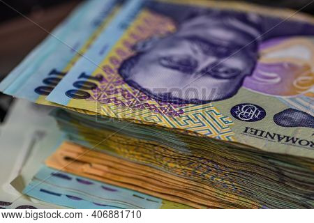 Selective Focus On Stack Of Lei Romanian Money. Lei Banknotes Isolated.
