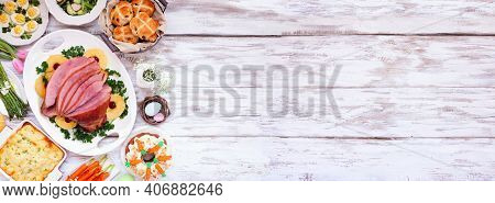 Traditional Easter Ham Dinner. Top Down View Side Border On A White Wood Banner Background With Copy