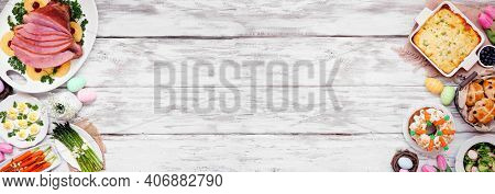 Classic Easter Ham Dinner. Top View Double Border On A White Wood Banner Background With Copy Space.