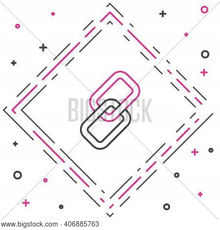 Line Chain Link Icon Isolated On White Background. Link Single. Colorful Outline Concept. Vector Ill