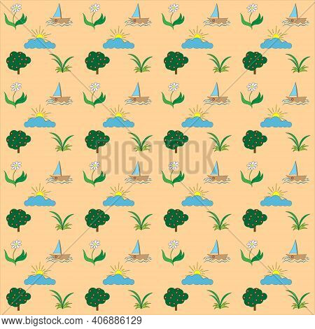 Vector Illustration Of A Seamless Texture Summer Mood Yacht On Waves, Flower, Tree With Inflorescenc