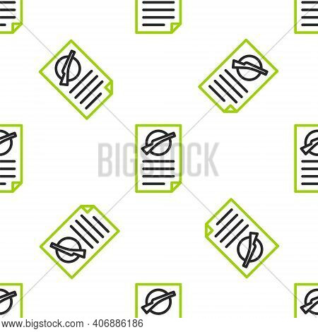 Line Firearms License Certificate Icon Isolated Seamless Pattern On White Background. Weapon Permit.