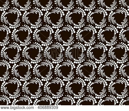 Seamless Pattern With Halftone Hexagon Dots In Vortex Form. Geometric Art Eps10 Vector.