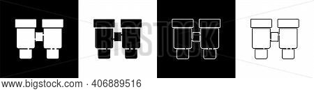 Set Binoculars Icon Isolated On Black And White Background. Find Software Sign. Spy Equipment Symbol