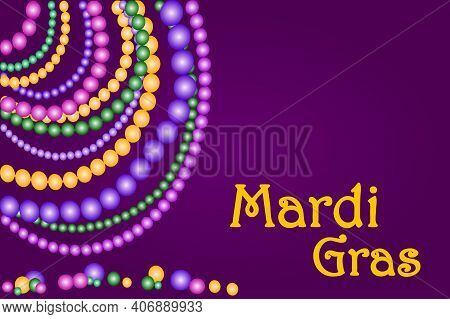 Mardi Gras Banner With Shining Beads On Traditional Purple Color Background. Mardi Gras Poster With