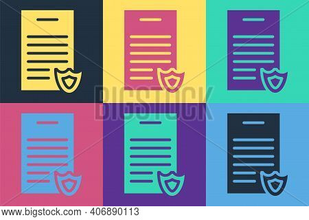 Pop Art Firearms License Certificate Icon Isolated On Color Background. Weapon Permit. Vector