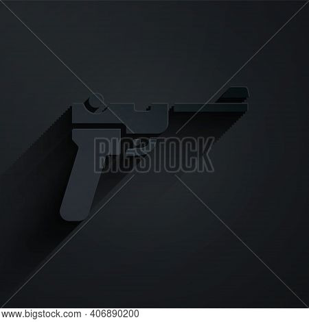 Paper Cut Mauser Gun Icon Isolated On Black Background. Mauser C96 Is A Semi-automatic Pistol. Paper