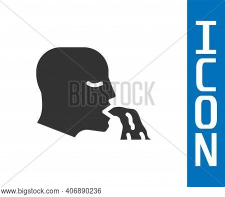 Grey Vomiting Man Icon Isolated On White Background. Symptom Of Disease, Problem With Health. Nausea