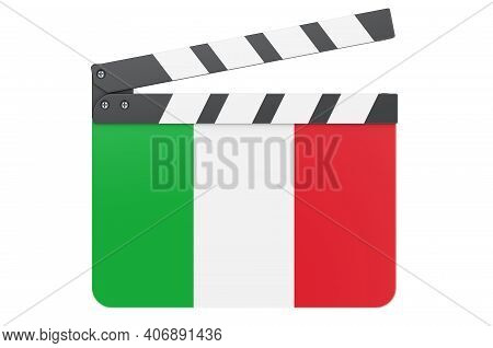 Movie Clapperboard With Italian Flag, Film Industry Concept. 3d Rendering Isolated On White Backgrou