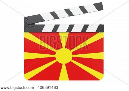Movie Clapperboard With Macedonian Flag, Film Industry Concept. 3d Rendering Isolated On White Backg
