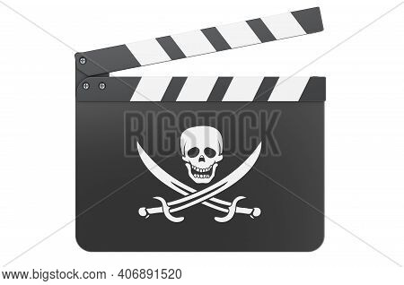 Movie Clapperboard With Piracy Flag, 3d Rendering Isolated On White Background