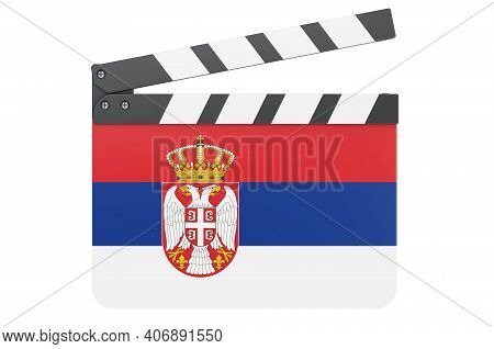 Movie Clapperboard With Serbian Flag, Film Industry Concept. 3d Rendering Isolated On White Backgrou
