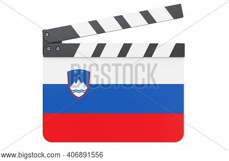 Movie Clapperboard With Slovenian Flag, Film Industry Concept. 3d Rendering Isolated On White Backgr