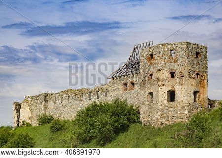 Scenic View On Medieval Abandoned Pniv Castle, Nadvirna City, Ivano-frankivsk Region, Western Ukrain