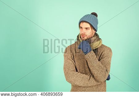 Cozy Winter Vibes. Thoughtful Man Blue Background. Handsome Man In Winter Style Design. Casual Outfi