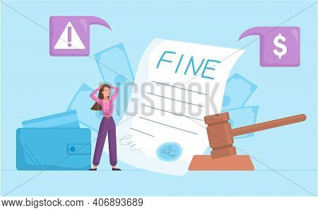 Payment Of A Fine For An Infringement With Legal Document And A Stressed Woman With Cash, Abstract C