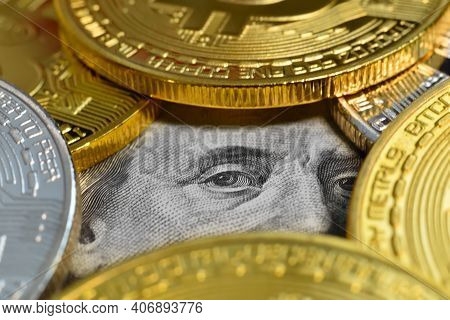 Bitcoin Money And Dollar Banknotes. Virtual Money And Payment Concept. Close Up