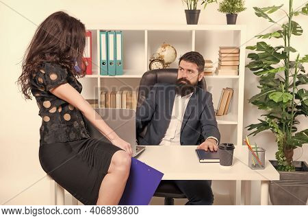 Employee Hiring. Company Employer And Employee. Professional Couple In Office. Business Woman And Ma