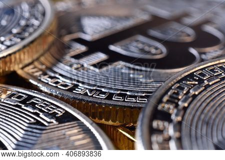 Silver Coins With Bitcoin Symbol. Cryptocurrency And Payment Concept. Close Up