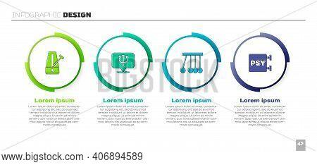 Set Metronome With Pendulum, Psychology, Psi, Pendulum And . Business Infographic Template. Vector