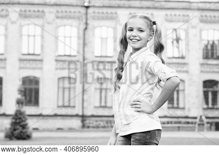 Little Girl Casual Style Teen With Gorgeous Curly Hairstyle, Stylish Fashionista Concept.