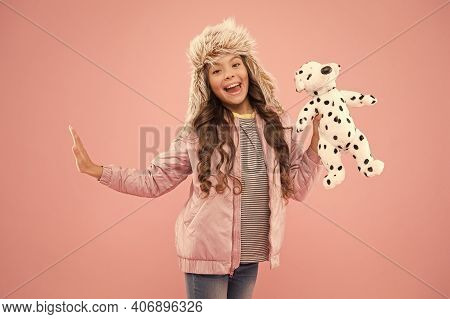 Playful Beauty. Cold Season In Warm Clothes Accessory. Happy Kid Pink Background. Kid Fashion. Hipst