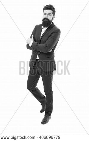 Business Life. Businessman Keep Arms Crossed. Confident Businessman Isolated On White. Elegant Busin