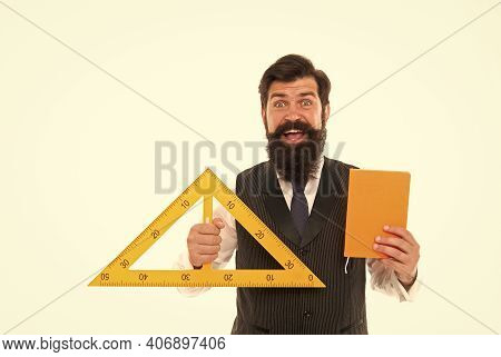 Geometry Works Wonders For You. Geometry Teacher Ready For Lesson. Hipster Hold Triangle And Gradebo