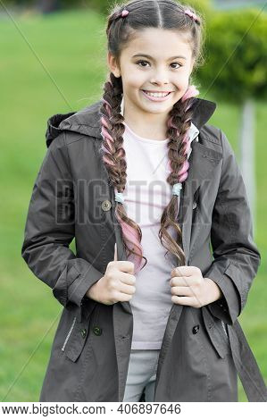 Spring Fashion For Little Girl Outdoor. Little Girl With Trendy Hairstyle In Park. Autumn Fashion. H