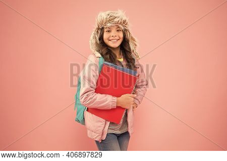 Stylish Schoolgirl. Academic Term. Winter Semester. Teen With Backpack And Books. Girl Little Fashio
