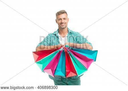 Did Not Resist Temptation. Total Sale. Positive Man Enjoying Shopping. Happy Man With Shopping Bags