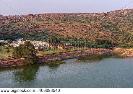 Badami, Karnataka, India - November 7, 2013: Wide Area View With Brown Stone Hondadkatte Hanuman Tem