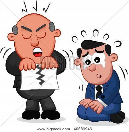 Business Cartoon - Boss Man Tearing Paper