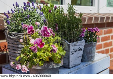 The Image Shows A Table Decorated With Flowers In The Sun
