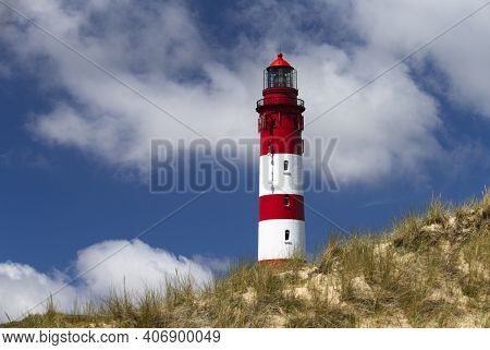 The Photo Shows The Amrum Lighthouse In The Dunes