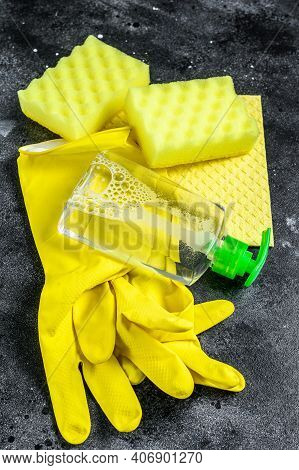 Kitchen Yellow Cleaning Concept, Housecleaning, Hygiene, Spring, Chores, Cleaning Supplies. Black Ba