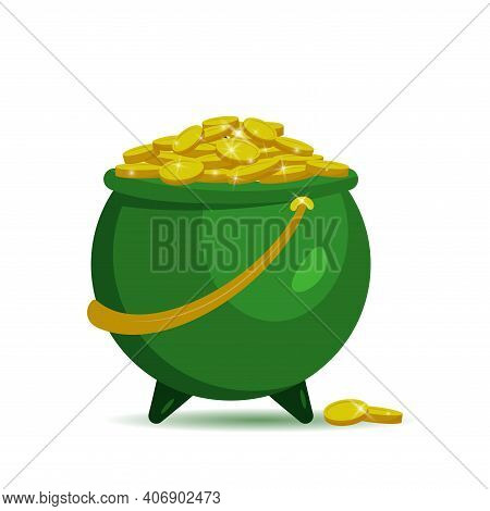 Green Pot With Gold Coins For Patrick's Day. Vector Illustration Isolated On White Background. For B
