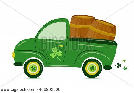 St. Patrick's Day Truck. Vector Retro Cartoon Pick-up Truck With Shamrock  And Beer Barrels For Happ
