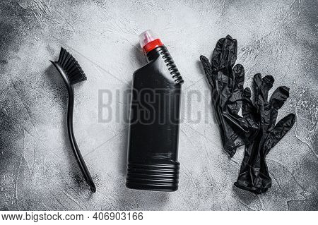 Black Style Toilet Cleaning Supplies, Housecleaning. White Background. Top View