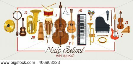 Music Orchestra Diverse Instruments Vector Flat Poster, Live Sound Concert Or Festival, Musical Band