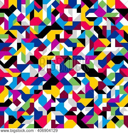 Abstract Mosaic Vector Seamless Background, Tiling Geometric Pattern For Wallpapers, Wrapping Paper