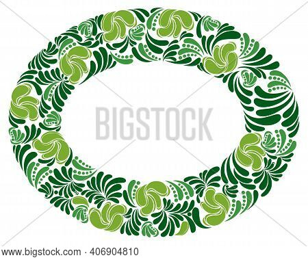 Round Shape Floral Frame Made Of Leaves Vector Vintage Design, Decorative Blank Classic Style Border