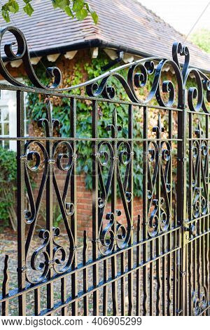 Security Gates, Wrought Iron Gate At The Entrance To A House In England, Uk
