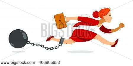 Business Woman Run With A Shackles And Weight On Her Leg Symbolizes Problems Such As Debt Crisis Or